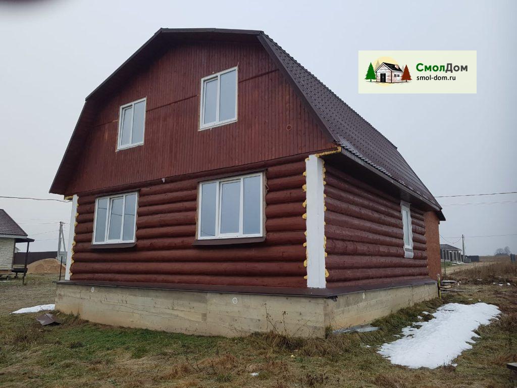 Сруб дома 6х8 с ломаной мансардной жилой крышей, рубка в лапу