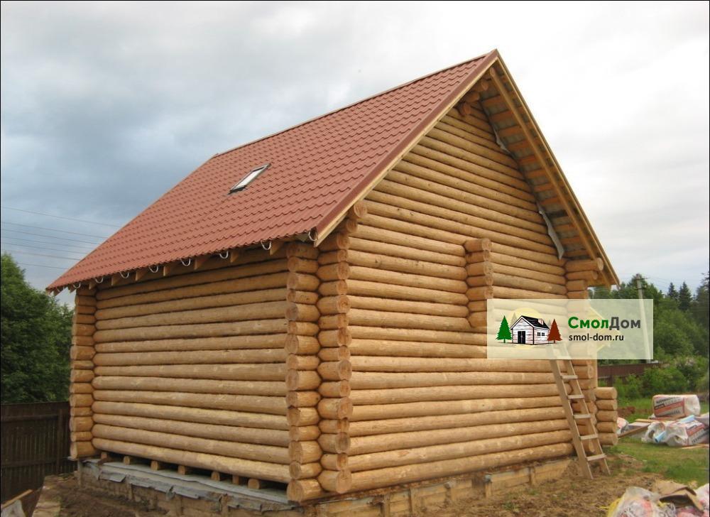 Cруб дома 6х6 с мансардной крышей, рубка лапа и чаша