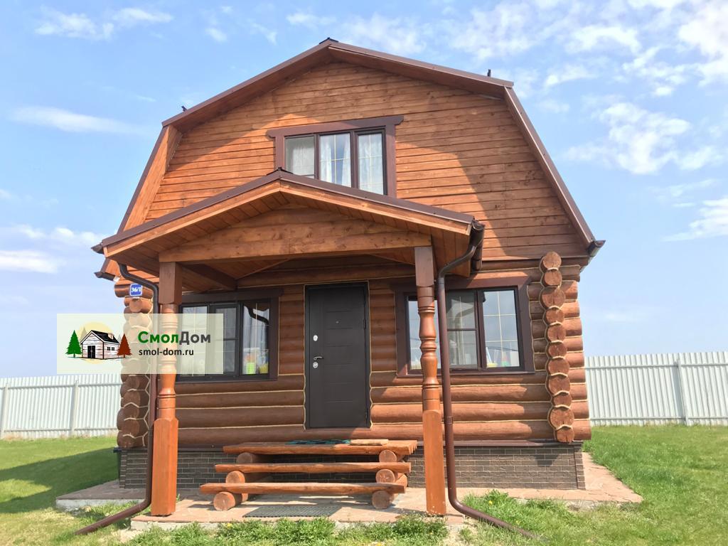 Двухэтажный дом 8 на 8 с «ломаной» мансардой
