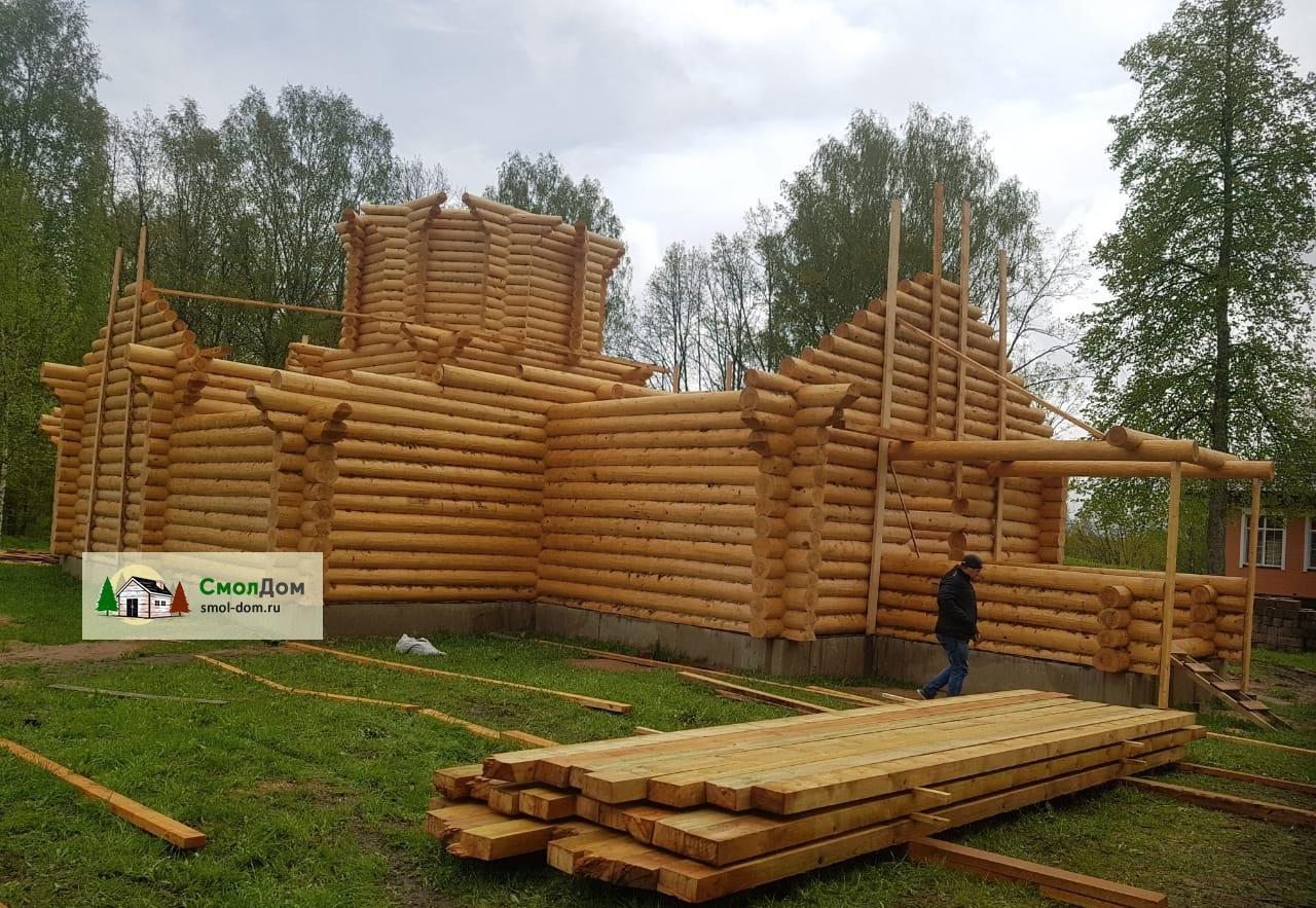 Масштабный проект: Храм из бревна, ручная рубка!