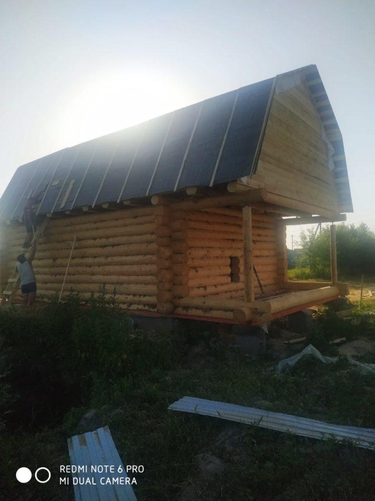 Дом 6×8 с выносом мансарды 2 м, «в чашу», ломаная крыша