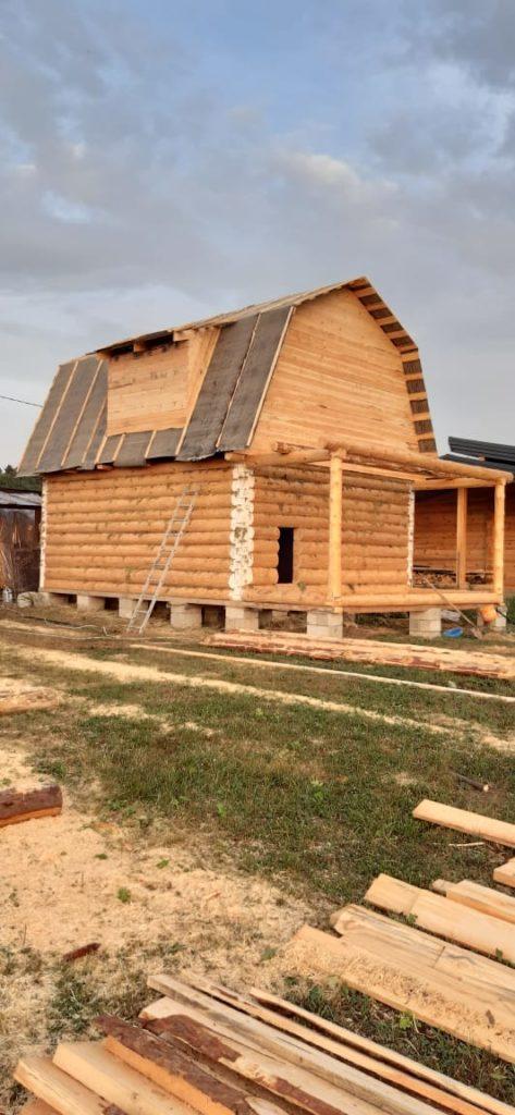 Двухэтажный дом 5×6 с выносом 2м («в лапу»- полулафет)